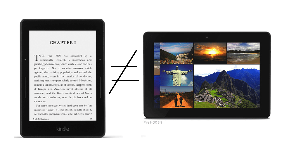 Kindle Paperwhite vs Kindle Fire HDX 8.9 Comparison