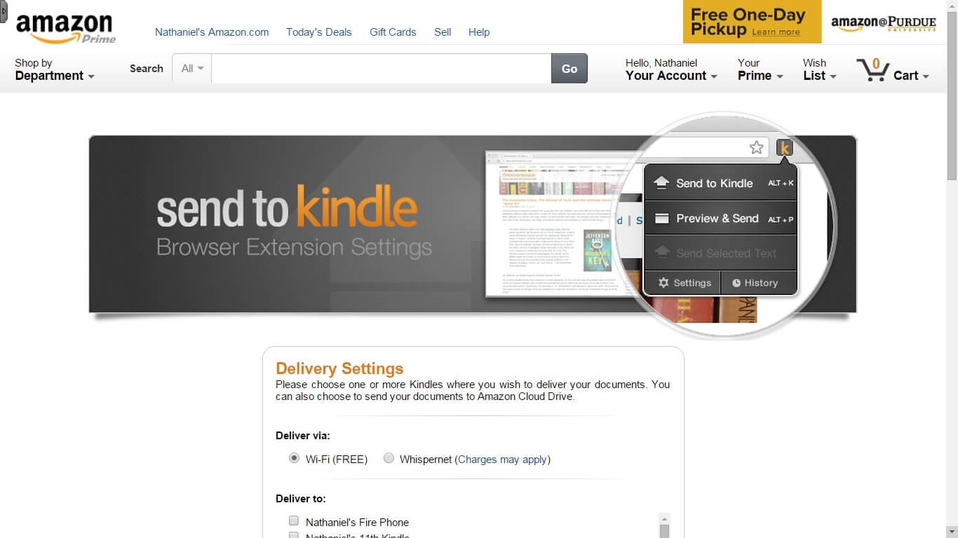 Grab the Send to Kindle browser extension for Chrome.